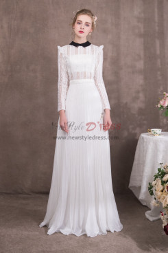 Womens White Lace Prom dresses with Long Sleeves NP-0425