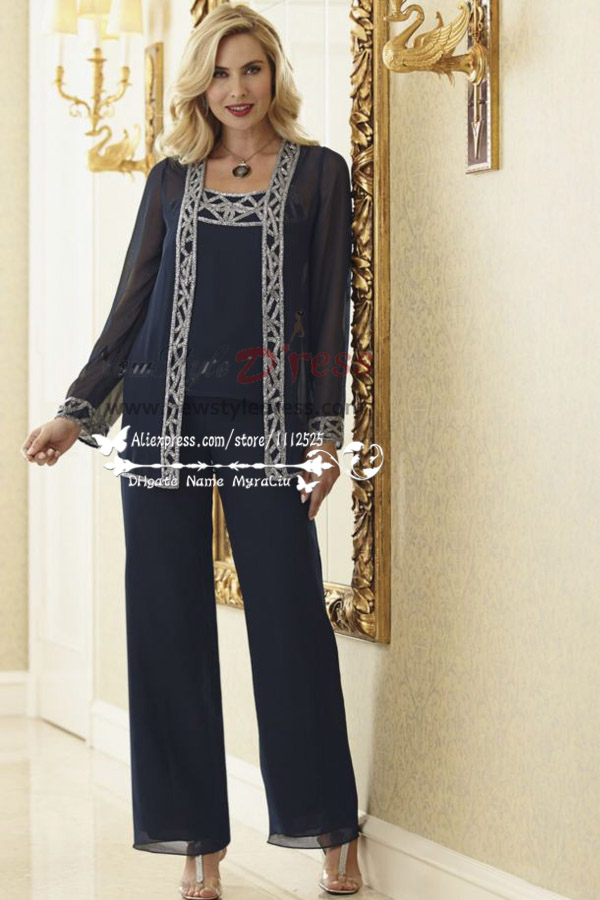 Dark Navy Elegant Mother Of The Bride Pant Suits Customize