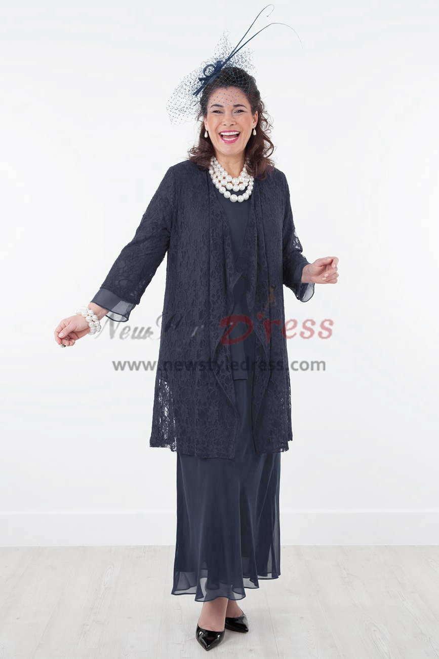 Dark Navy lace Mother of the bride dress Stretchy Waist nmo-289 - Mother Of The Bride Pant Suits