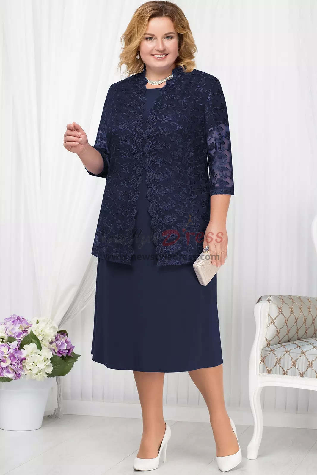 Plus size Royal blue Mother of the bride dress with Lace ...