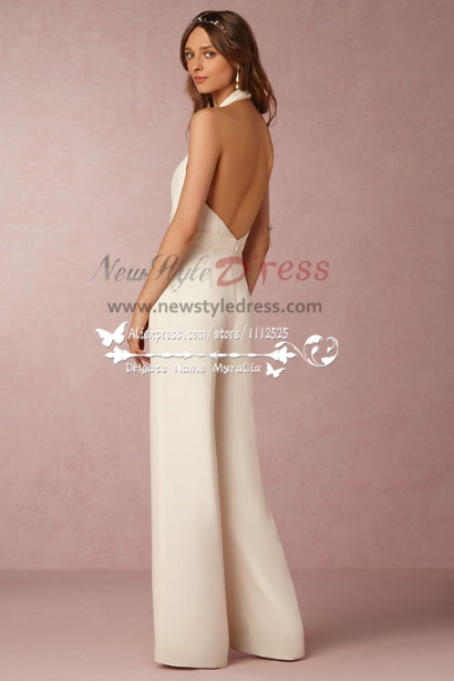 Deep V Neek Backless Bridal Pant Suit Dresses New Style
