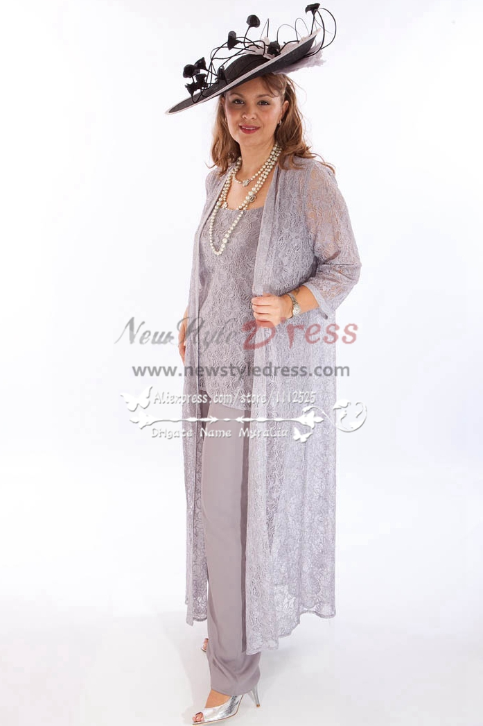 gray lace 3PC outfit Wedding Pantset mother of bride pant suits ...