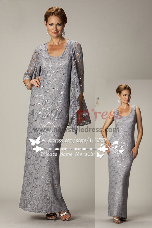 55bbdff9309 Elegant gray lace two piece mother of the bride dress with jacket cms-084
