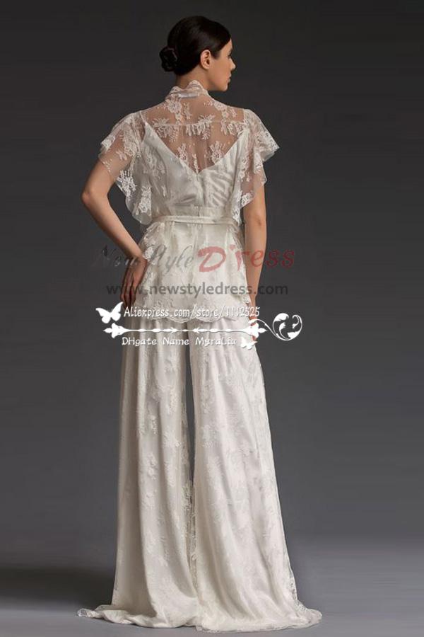 Elegant Lace Wedding Pants Dresses Floor Length Spring Wps 032