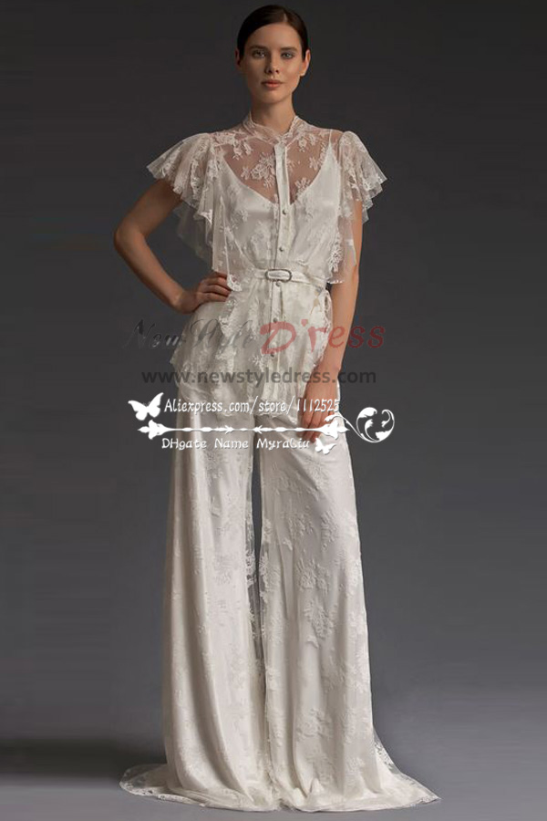 Elegant lace wedding pants dresses floor length spring wps for Dress pant outfits for wedding