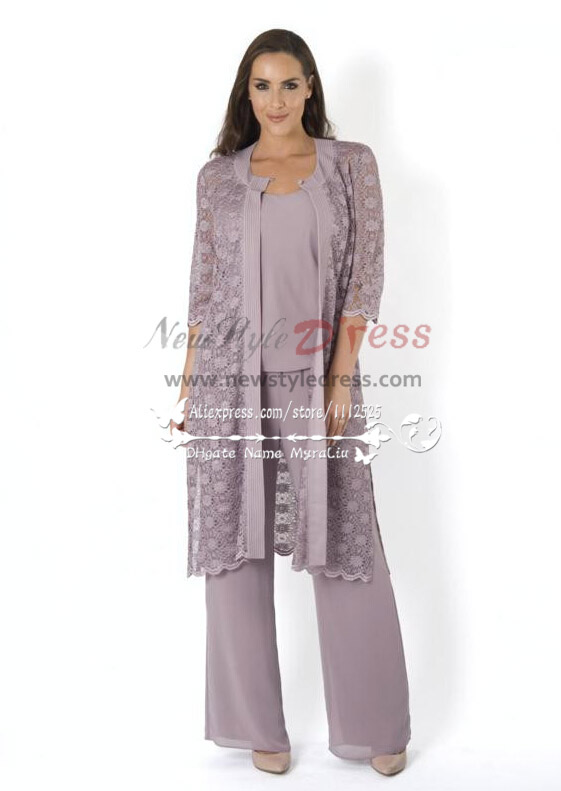 Elegant Mother Of The Birde Pant Suit 3 Piece Outfit With Lace Jacket For Wedding Nmo