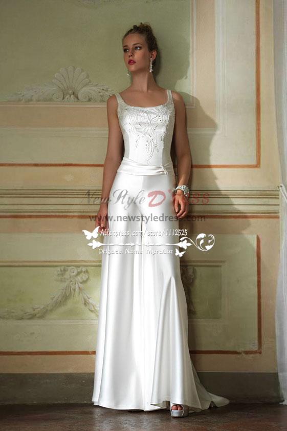 53b04ed7c831 Elegant wedding jumpsuit dress with hand beading white soft satin bridal  pants wps-031