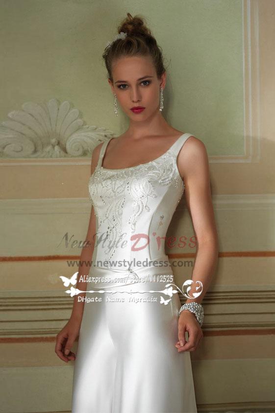 ecb13068adfd Elegant wedding jumpsuit dress with hand beading white soft satin ...