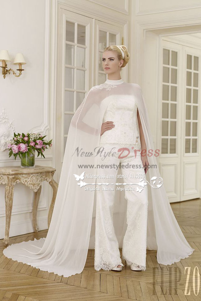 Elegant wedding pant suit lace dress with chiffon cloak for Wedding dress pant suits