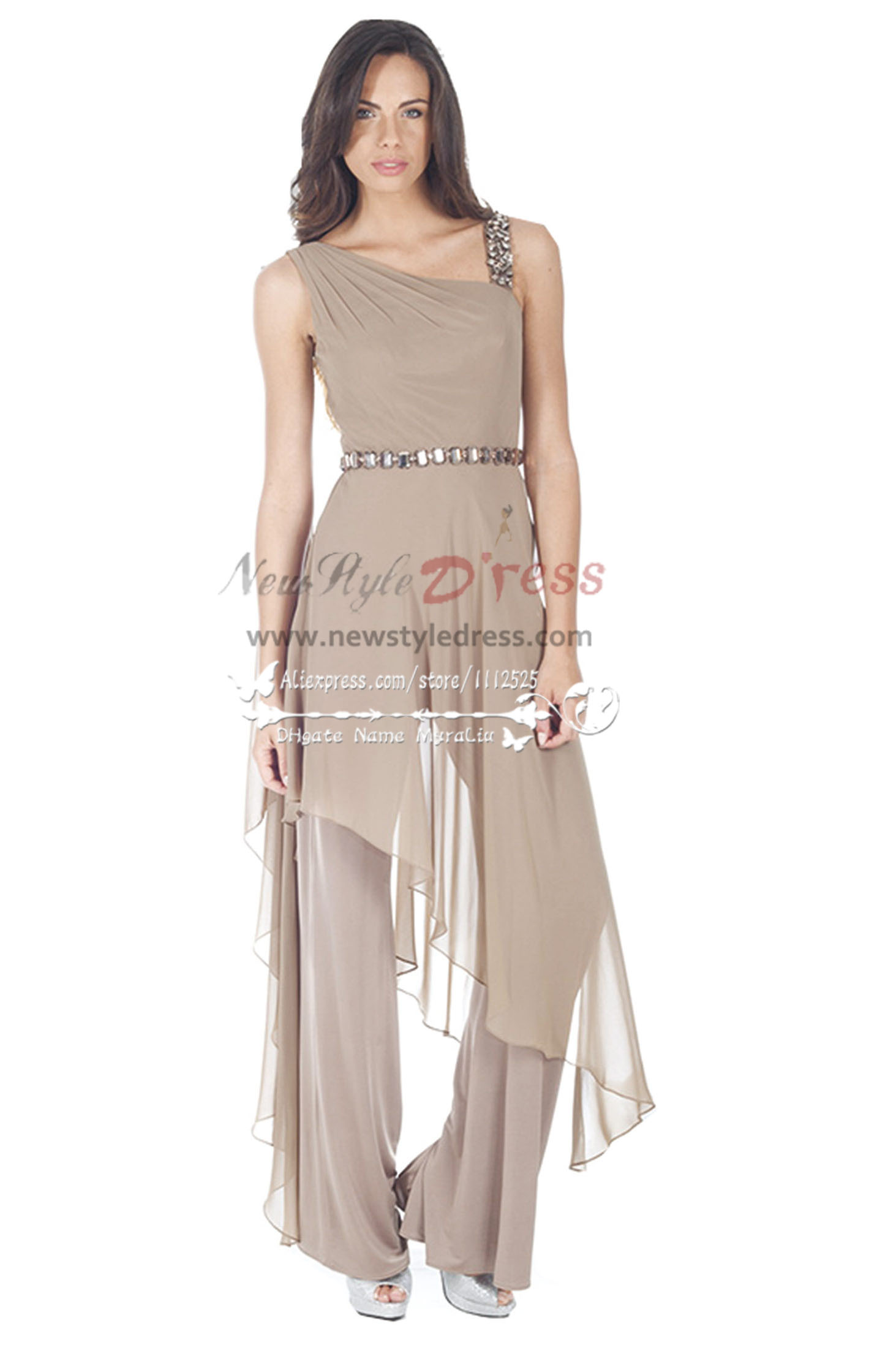 Fashion Gray chiffon jumpsuit with crystal for wedding party ...