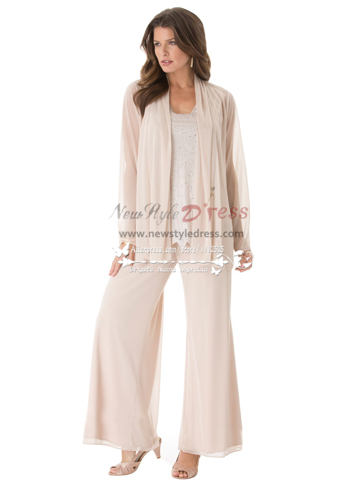 6c3f1a2ddc4 Fashion mother of the bride pant suits Plus size loose women