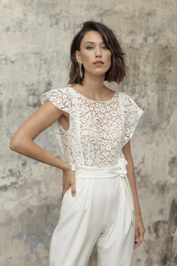 glamorous lace wedding jumpsuits modern midcalf bride