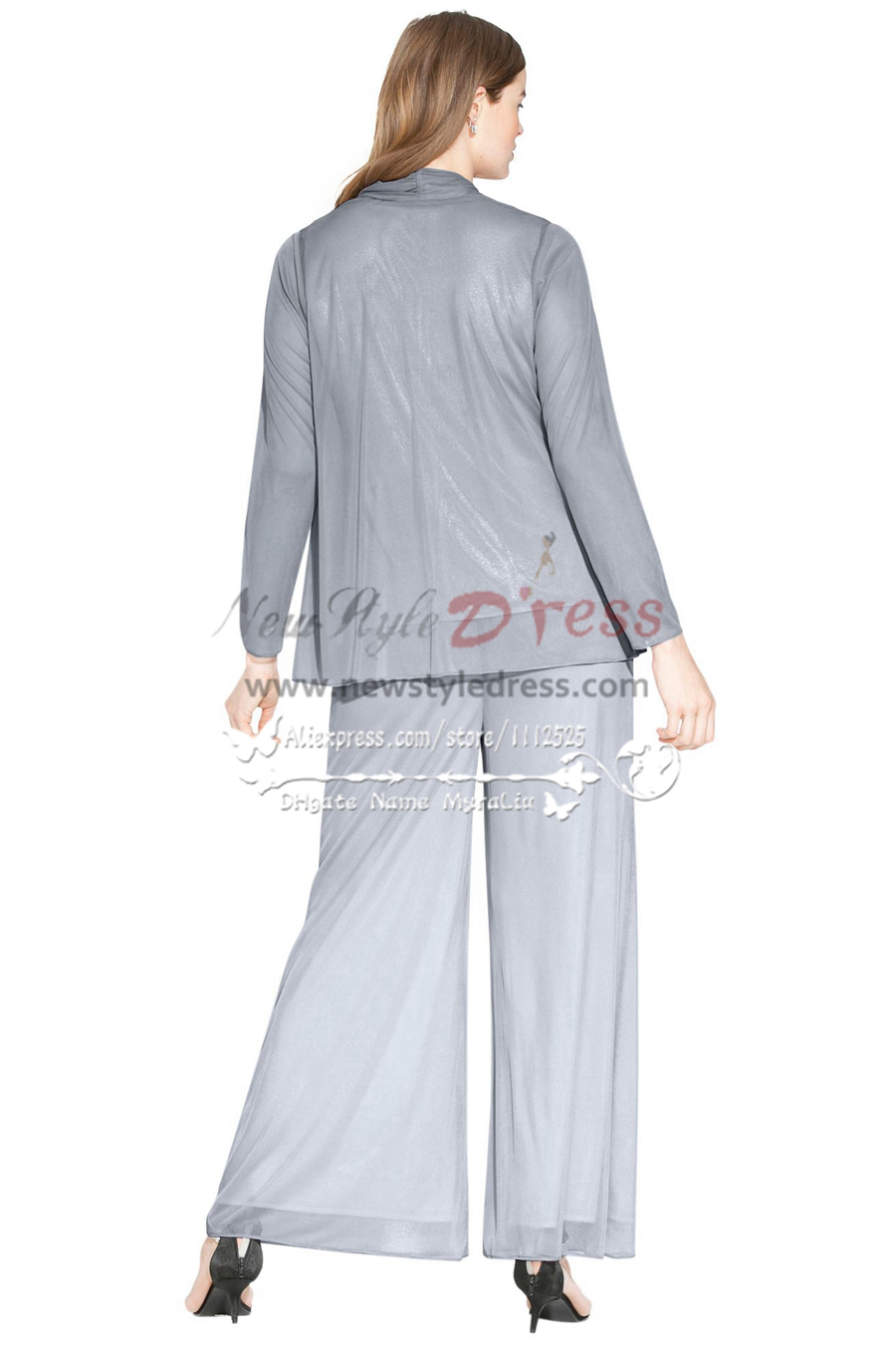 Plus size Gray beaded chiffon mother of the bride pant suits ...