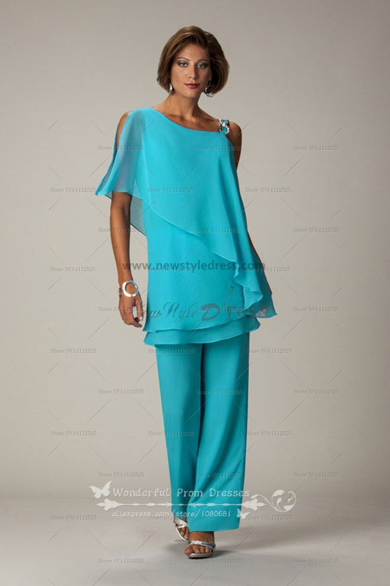 Ocean Blue Latest Fashion Chiffon mother of the bride pants suits ...