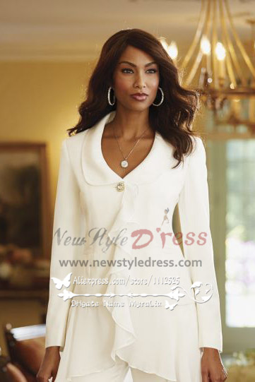 Ivory Modern Ruffles Mother Of The Bride Pant Suits