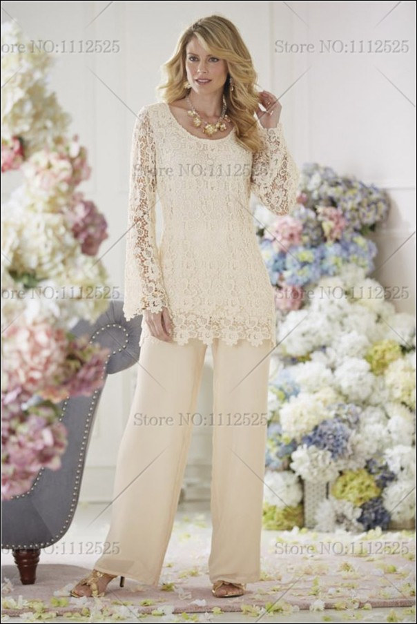 Ivory lace mother of the bride dresses pants suit for Wedding dress pant suits
