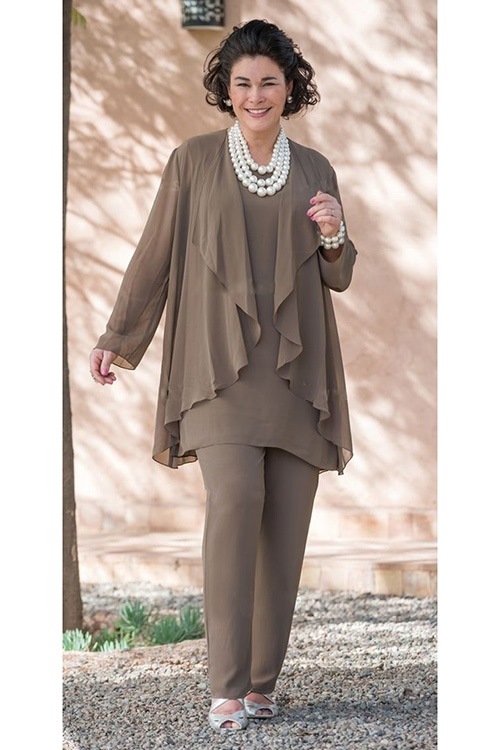 Khaki Dressy Elastic Mother Of The Bride Pant Suits