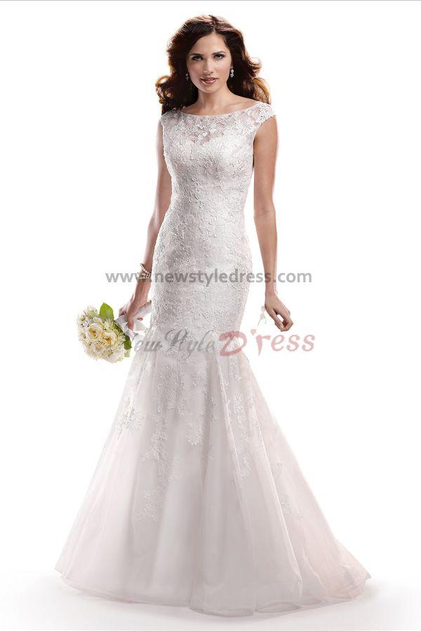 Lace glamorous appliques sweep train mermaid cheap wedding dresses nw