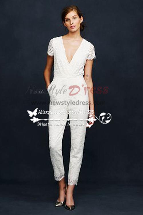 b4e47cd772ad Lace V-neck bridal jumpsuit wedding dresses Women