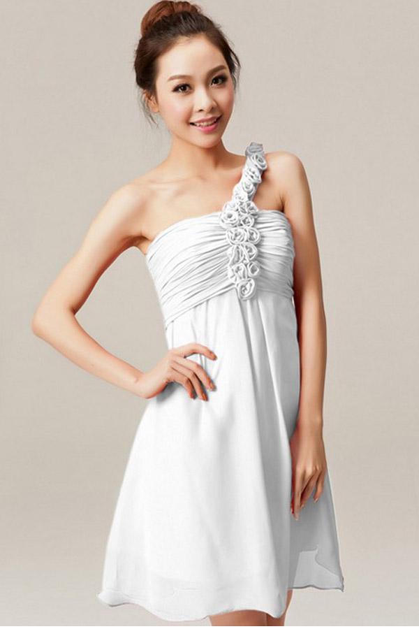 White Plus Size Wedding Dresses Under $100 : New arrival plus size cheap a line one shoulder knee