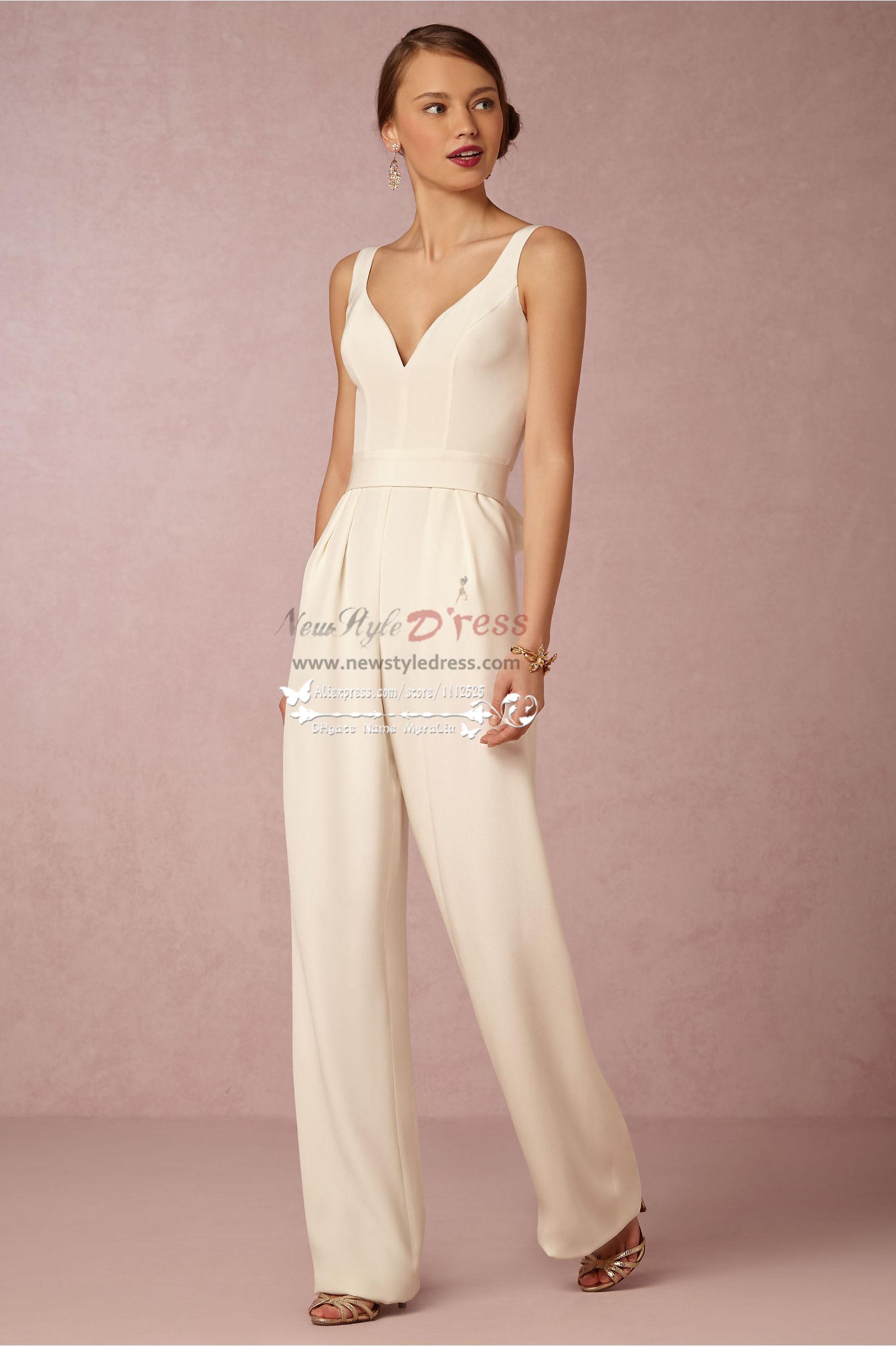 85d85a724cc Modern bridal jumpsuit Simple wedding pantsuits wps-078