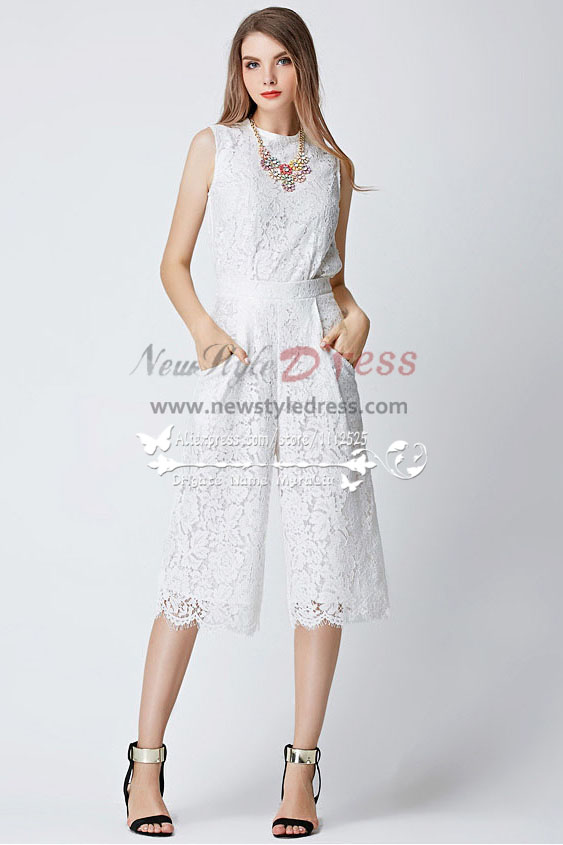 Modern Bridal Wedding Dresses Lace Short Pants Jumpsuits For Bride