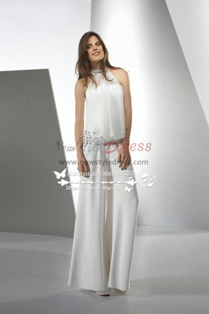 modern elegant jumpsuit wedding dresses with glass drill