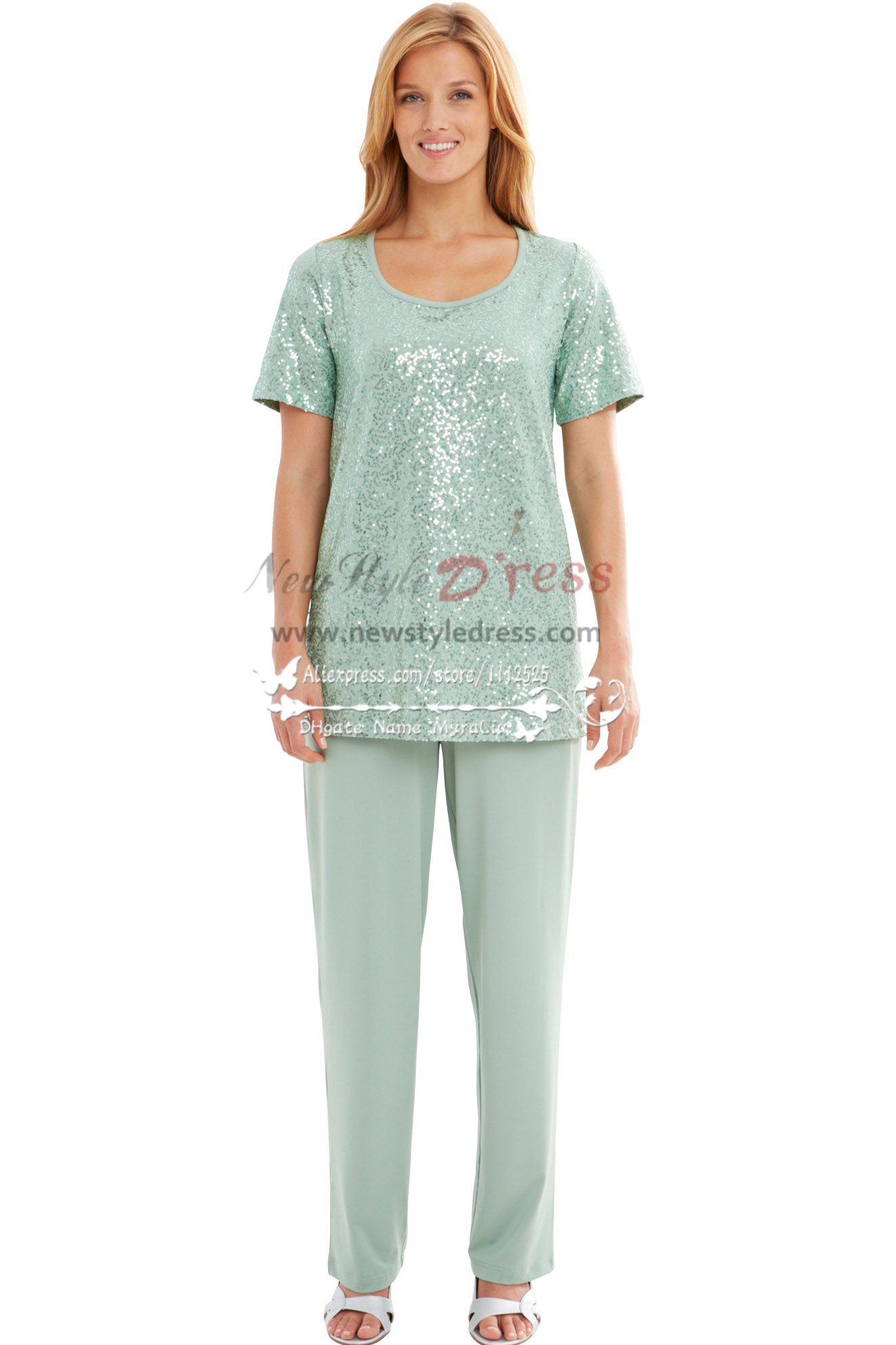 Modern Light Green Sequins mother of the bride pant suits nmo-168 ...