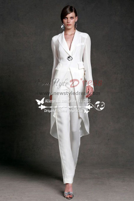 48b55a75e56 Modern new fashion white bridal pantsuits with jacket wps-091 ...