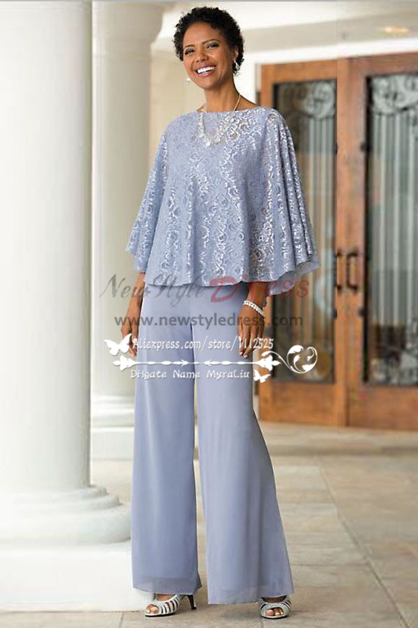 Mother Of The Bride Pant Suits Blue Chiffon Outfit With Lace For