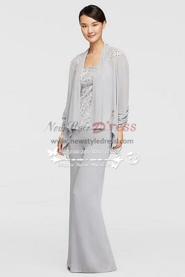 Mother of the bride pant suits three piece silver grey for Summer wedding mother of the bride dresses