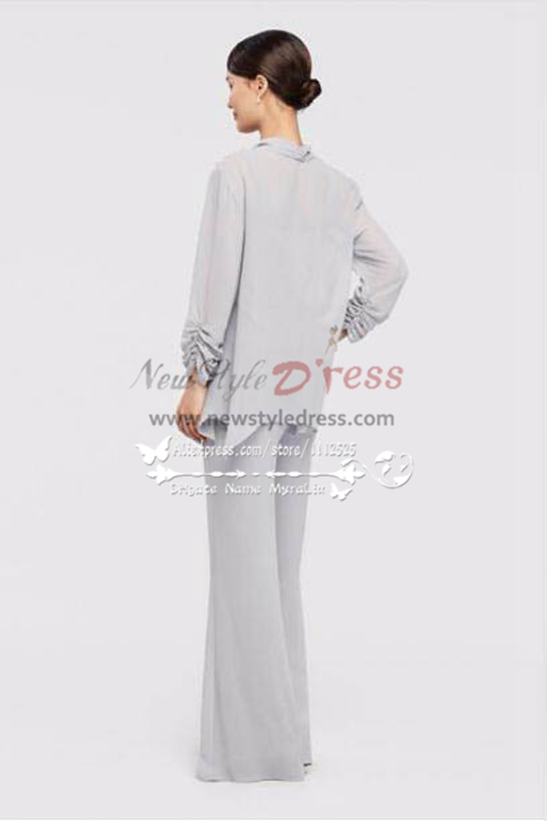 mother of the bride pant suits three piece silver grey