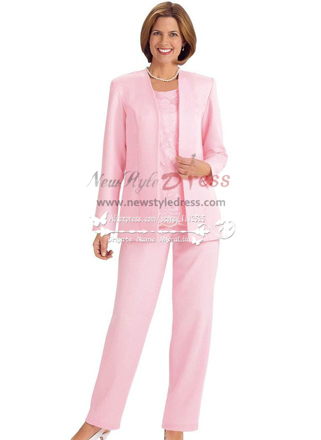mother of the bride pantsuit pink satin outfit for wedding nmo 237