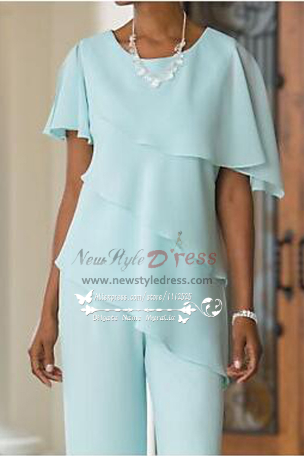 Jade Blue Mother Of The Bride Pant Suits Comfortable