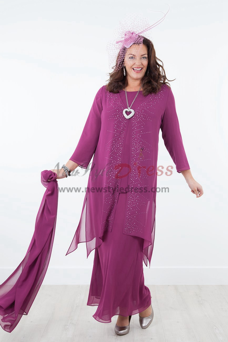 NEW ARRIVAL Rose Red Mother of the bride dresses with shawl Chiffon ...