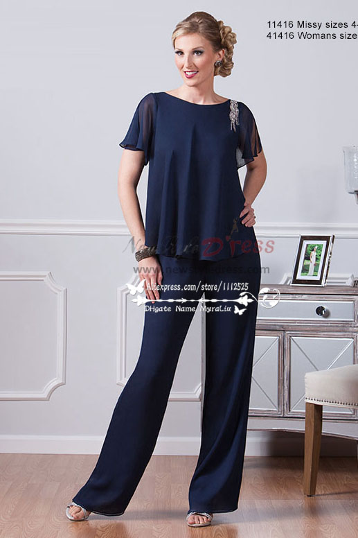 style chiffon mother of the bride pant suit dark blue two piece ...