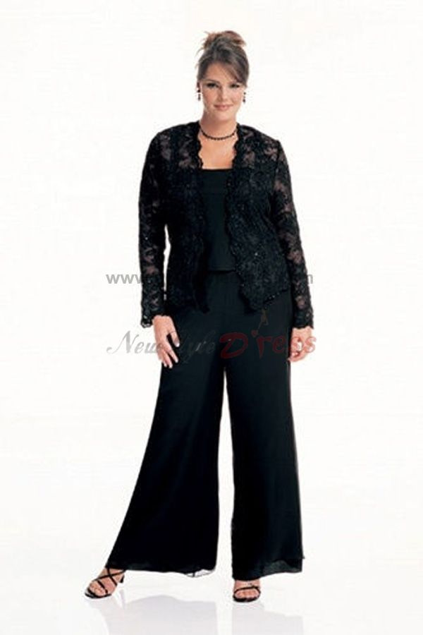 Black lace latest fashion three piece mother of the bride for Wedding dress pant suits