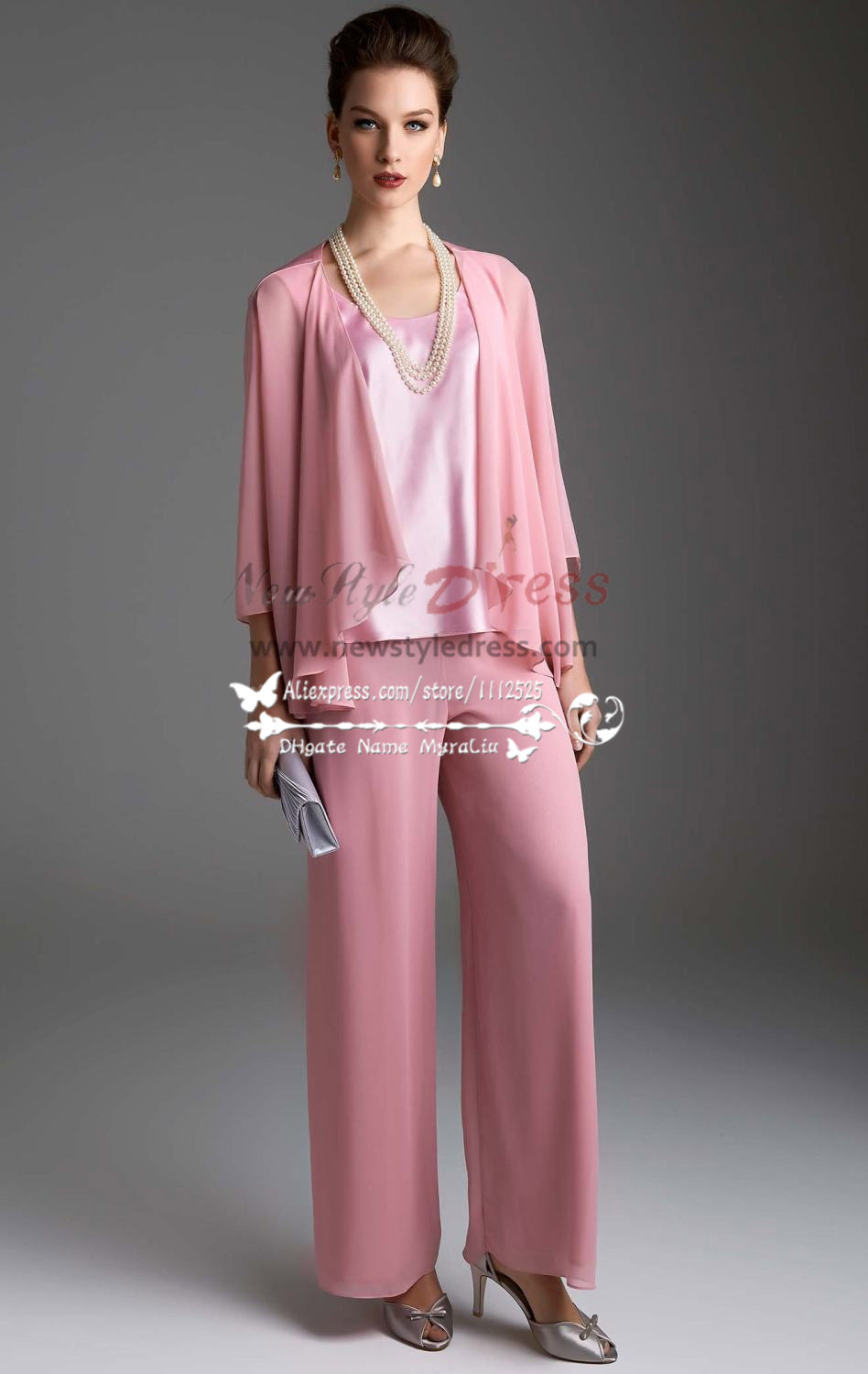 Pink chiffon women\'s outfits Lovely with jacket trouser suit for ...