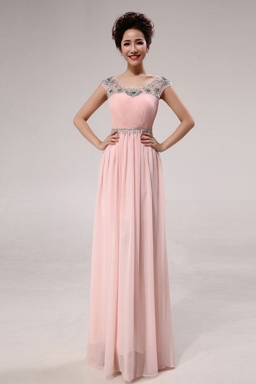 Jewel Short Sleeves long Prom Dresses Pink Red wholesale nm-0172