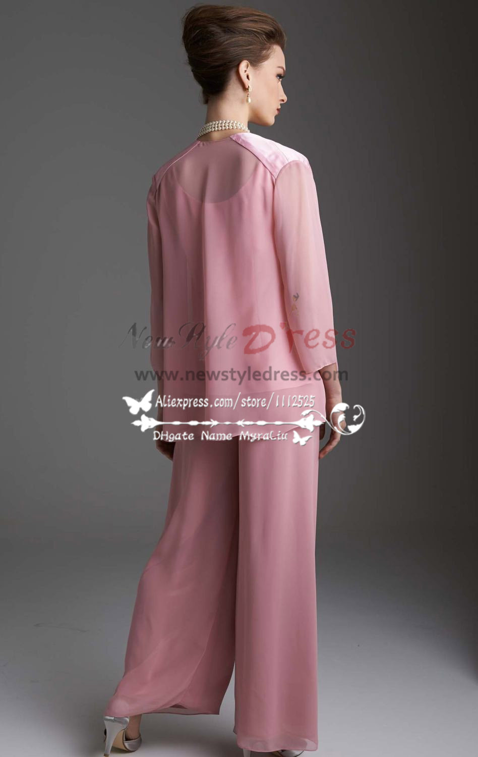 Pink Chiffon Women S Outfits Lovely With Jacket Trouser
