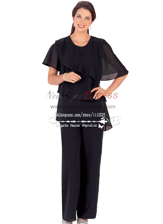 Plus size black cozy chiffon dresses for wedding mother of for Dress pant suits for weddings plus size