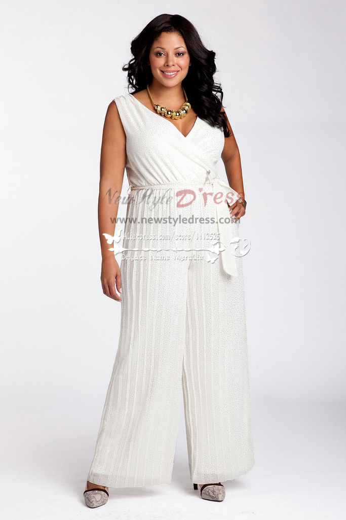 Plus Size Chiffon Wedding Jumpsuit Dress Wps 017