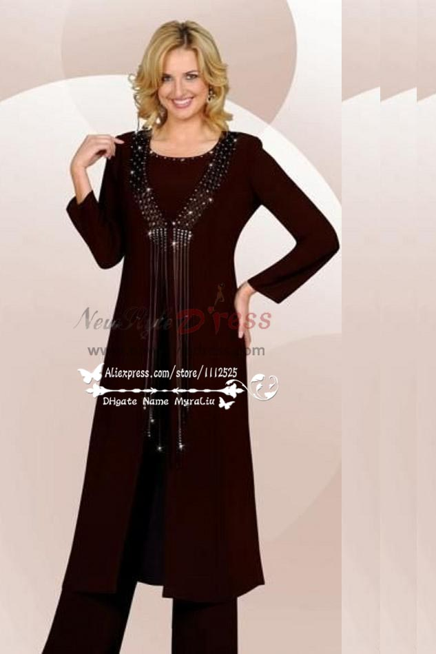 Plus size Classic dark navy chiffon mother of the birde pant suits ...