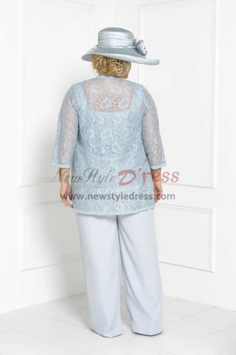 Plus size Lace Three piece Mother of the bride pant suits dress ...