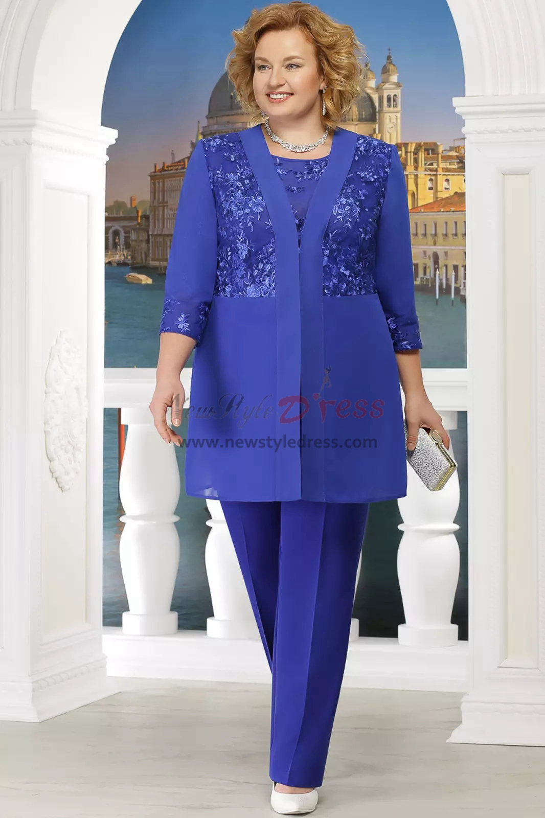 Black Plus size Mother of the bride pant suit with jacket ...