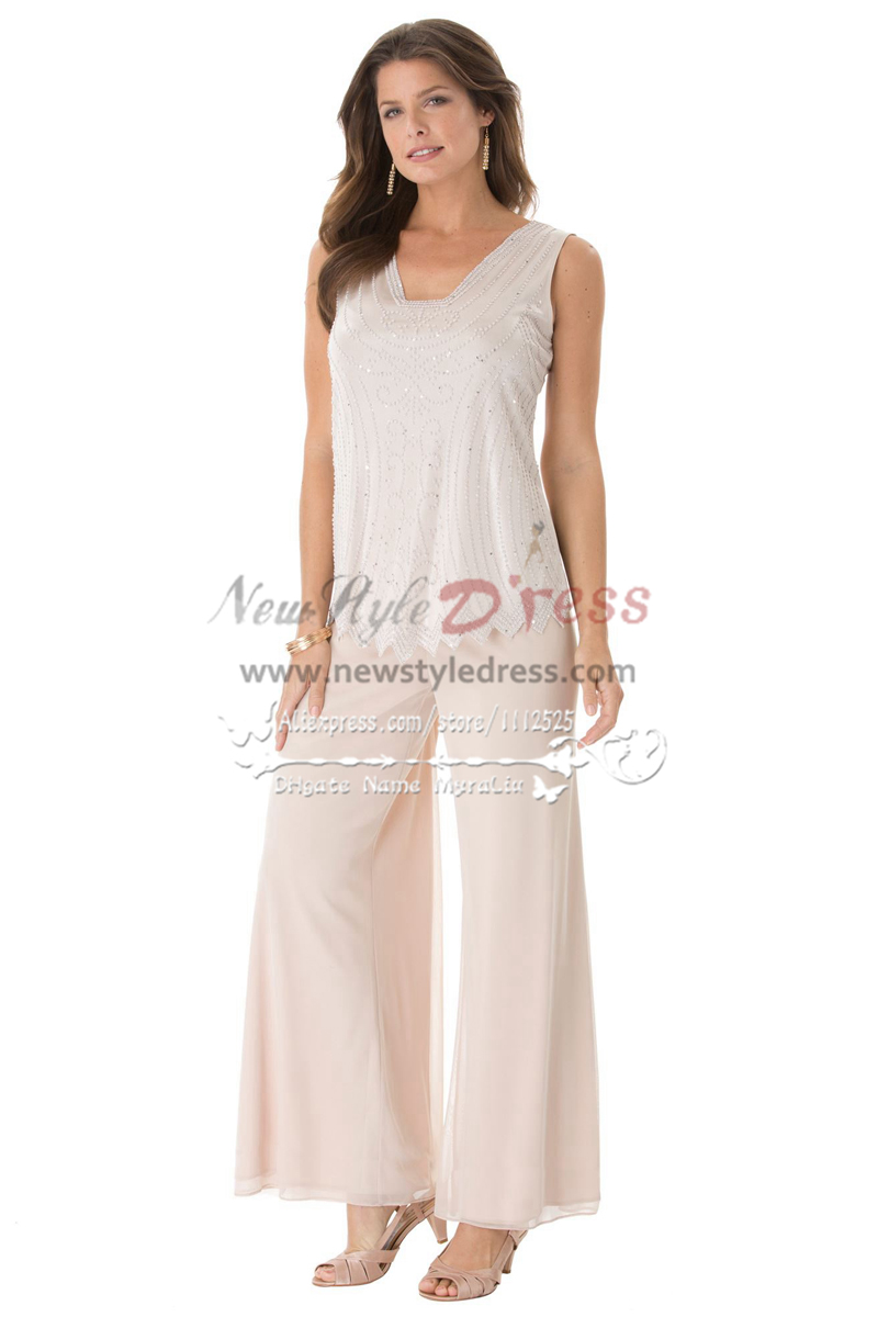 Plus Size Gray Beaded Chiffon Mother Of The Bride Pant