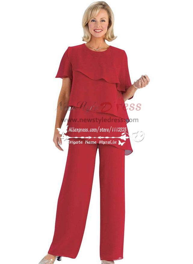 Plus Size Red Chiffon Mother Of The Birde Pant Suits Multilayer For Wedding