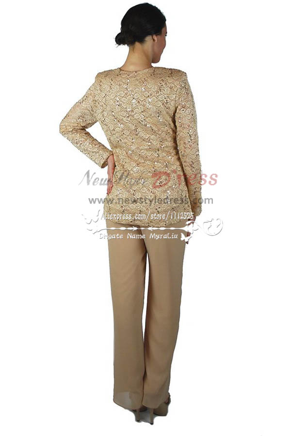 Pretty Champagne Mother Of The Bride Pant Suits With Lace