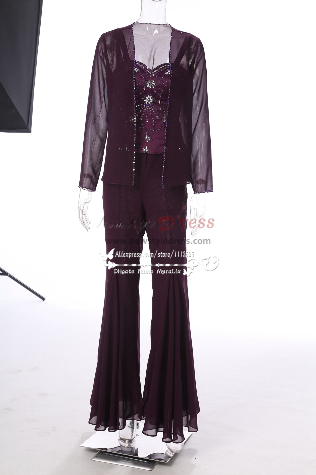 Purple Hand Beading Chiffon Mother Of The Bride Pant Suits