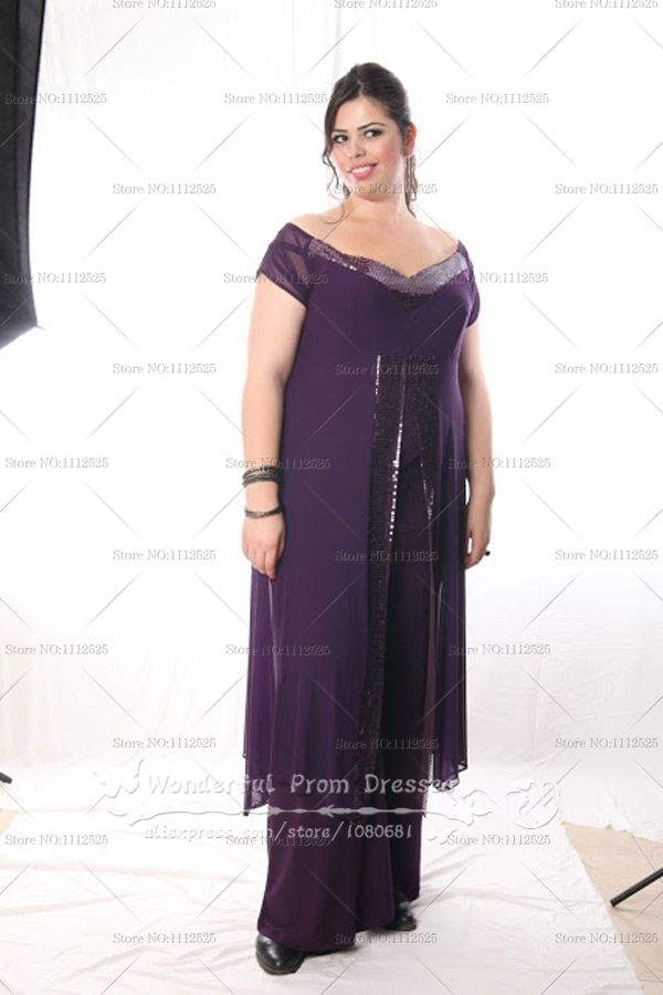Plus Size purple Chiffon Off the Shoulder mother of the dress ...